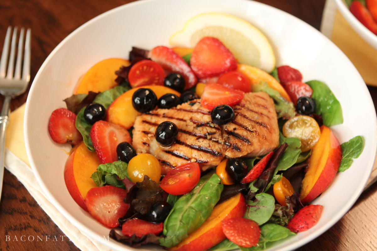 Grilled Salmon with Boozy Fruit Salad   BaconFatte.com