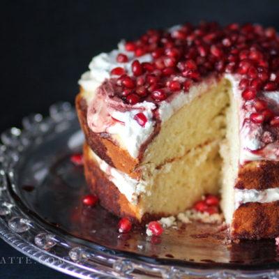 Amaretto Butter Cake with Pomegranate and Cream