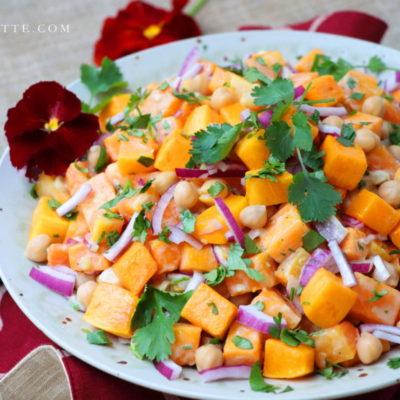 Butternut Squash Chickpea Salad with Lemon Tahini Dressing