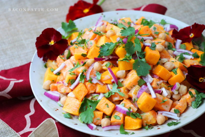 Butternut Squash and Chickpea Salad with Lemon Tahini Dressing recipe from BaconFatte.com