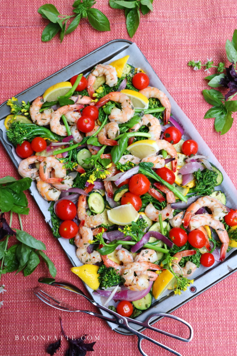 Sheet Pan Shrimp and Roasted Vegetables recipe from BaconFatte.com