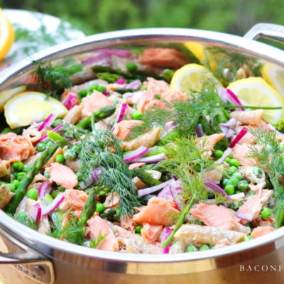 Smoked Salmon Pasta Salad with Asparagus, Peas and Dill