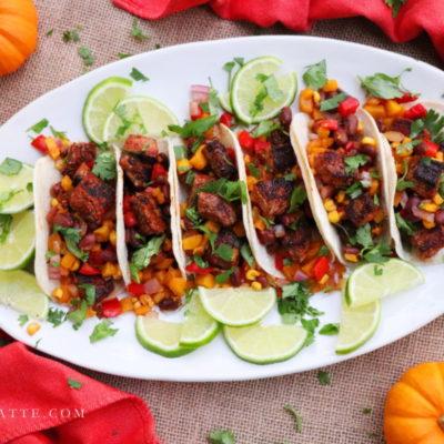 Blackened Steak Tacos with Pumpkin, Sweet Corn & Red Bean Salsa #PumpkinWeek