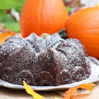 Ridiculously Good Fudgy Dark Chocolate Pumpkin Cake #PumpkinWeek