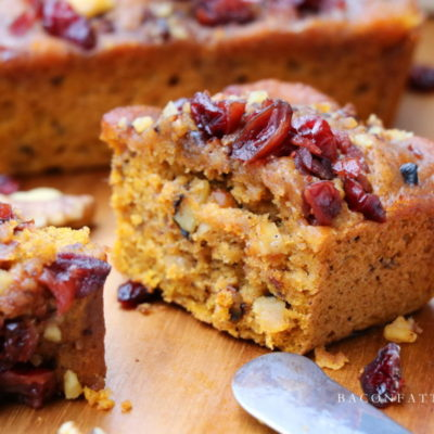 Spiced Pumpkin Mini Cakes with Mulled Cranberries & Brandy Brown Butter Glaze #PumpkinWeek