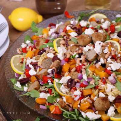 Turkey Meatball Orzo Salad with Veggies