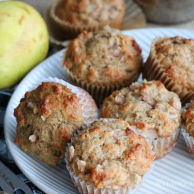 Spiced Bakery Style Ginger Pear Muffins