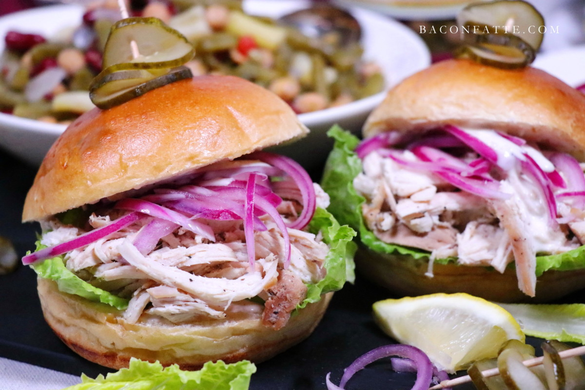 Shredded Chicken Sandwiches with Sweet Red Onions