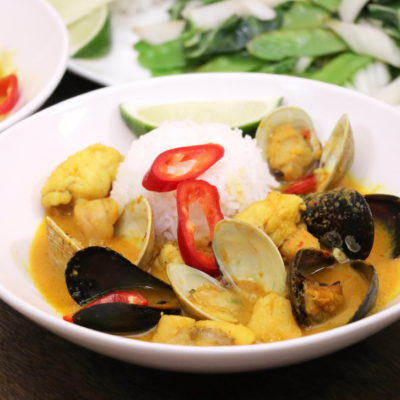 Monkfish Curry with Bok Choy and Pea Pod Stir Fry