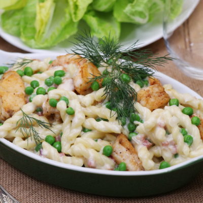 Monkfish Mac and Cheese with Peas and Pancetta