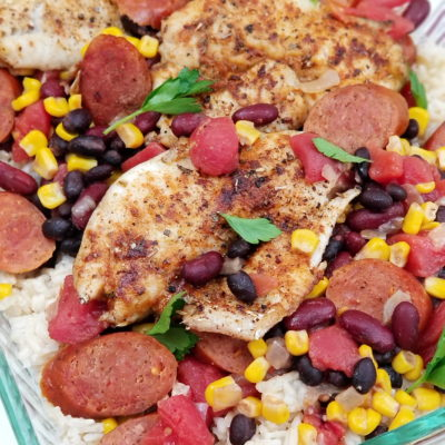 Blackened Crappie with Andouille, Beans and Rice
